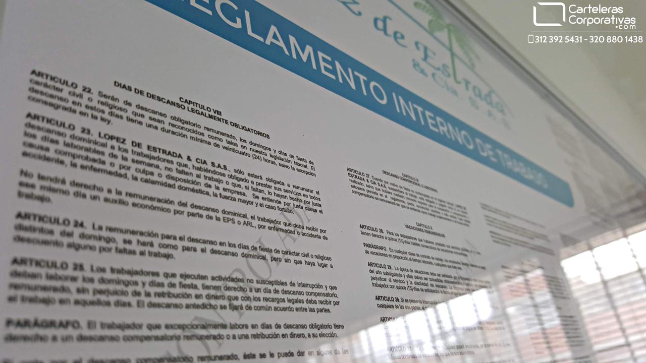 detalle reglamento interno de trabajo para la ciudad de Bucaramanga