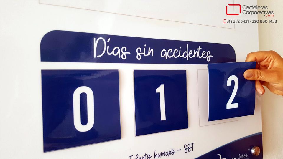 números magnéticos intercambiables para calendario de accidentes