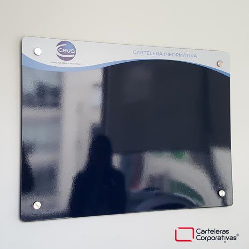 cartelera flotante magnetica azul tamaño 100x70 cms ceba vista lateral inferior