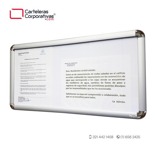 cartelera marco abatible para 3 hojas carta vista lateral fondo blanco