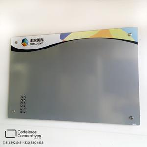 cartelera gris aluminio flotante magnética de 120x80