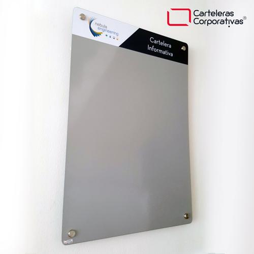 cartelera flotante magnetica gris 70x50 cms vista lateral