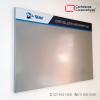 cartelera tipo retablo magnética 120x80 cms gris vista lateral