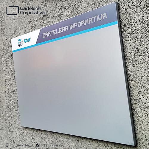 cartelera tipo retablo magnética 120x80 cms gris vista lateral exterior