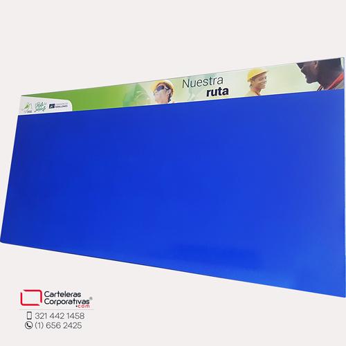 cartelera tipo retablo magnetica azul consorcio 200x117 cms vista lateral opuesta