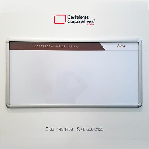 cartelera marco abatible para 3 hojas carta personalizada vista frontal en recepción