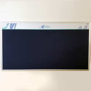 cartelera con marco en aluminio y paño azul tamaño 150x100