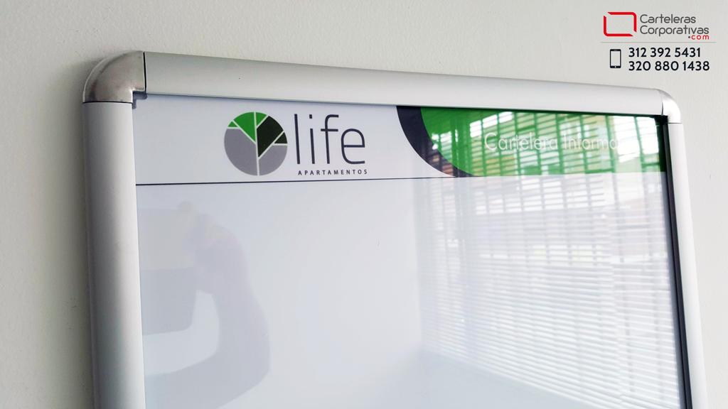 cartelera para ascensor con logotipo en barranquilla