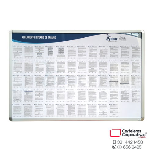 Cartelera marco abatible de 35mm de 150x100 cms para reglamento vista frontal