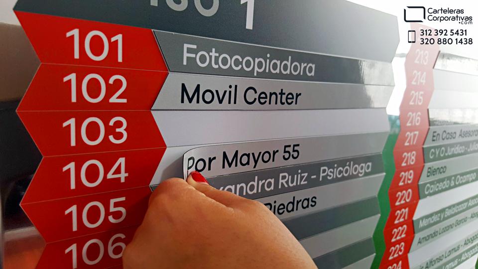 Fichas magnéticas para directorio de oficinas en cali