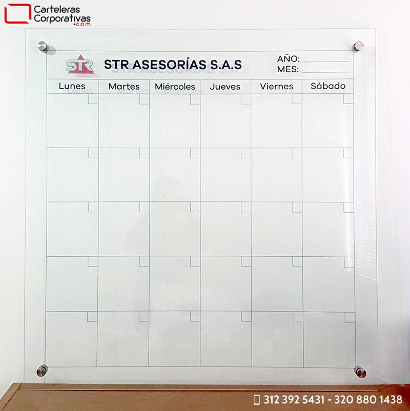 Tablero en vidrio para planeador mensual para oficina