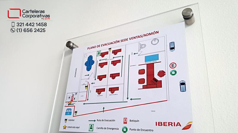 plano de evacuación en acrílico con dilatadores para edificio de oficinas