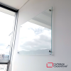 Tablero en vidrio templado brillante de 70x50 cms vista lateral inferior