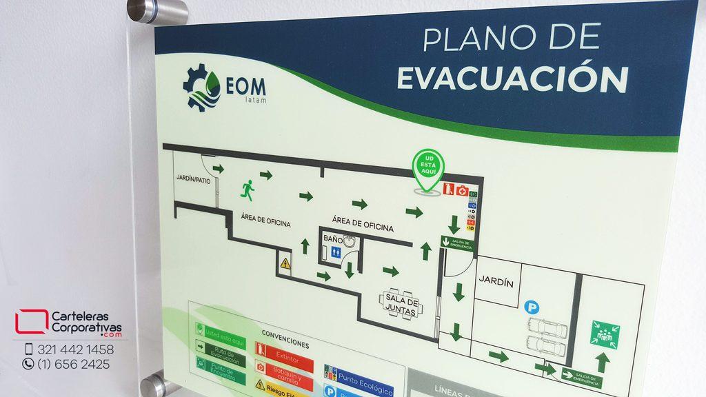 detalle plano de evacuación para oficina en bogota