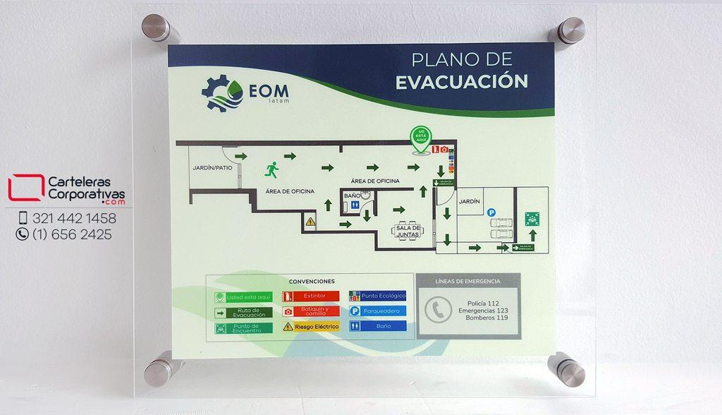 Vista frontal de plano de evacuación para oficina en bogota
