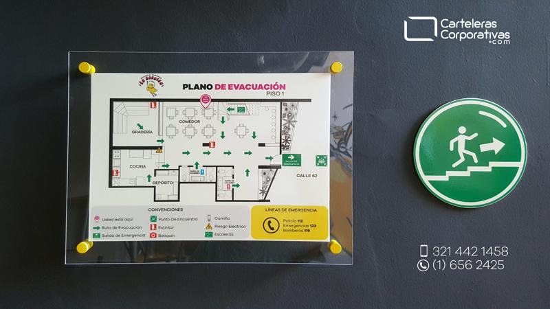 plano de evacuación fotoluminiscente sobre acrílico y dilatadores para restaurante en bogotá vista frontal