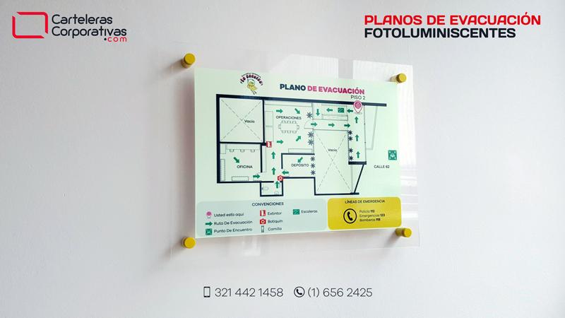 plano de evacuación fotoluminiscente segundo piso en bogota