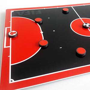 tablero tactico magnético media cancha futsal rojo negro