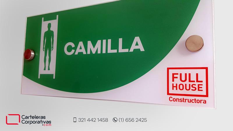 Señal de camilla en acrílico con dilatadores diseño personalizado para empresa en bucaramanga