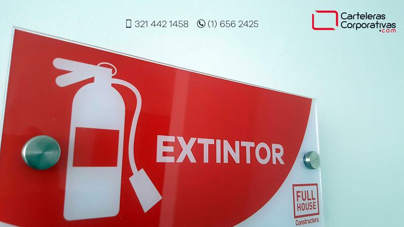señal de extintor en acrílico con dilatadores para empresa en bucaramanga