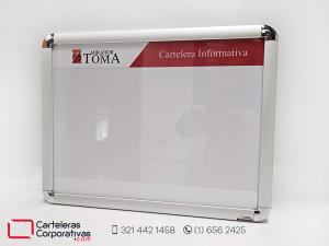 Cartelera marco abatible ideal para ascensor para conjunto residencial en la ciudad de neiva vista frontal lateral