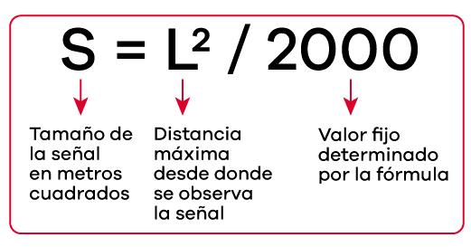 Fórmula para hallar tamaño de señalización