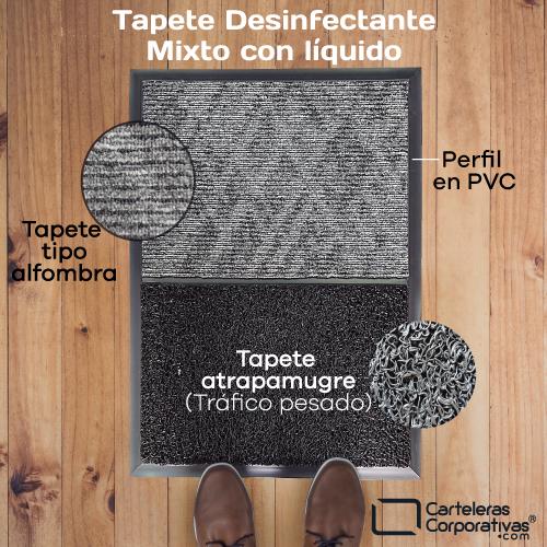 tapete desinfectante mixto vista superior con materiales