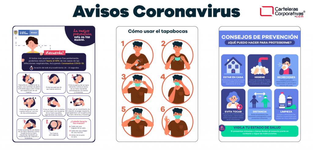 Avisos de instructivos y consejos sobre el coronavirus
