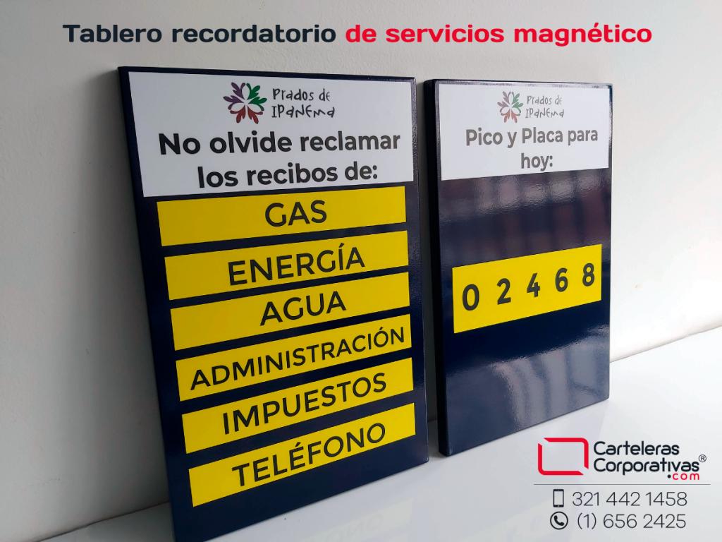 Tablero recordatorio de servicios públicos y pico y placa magnético