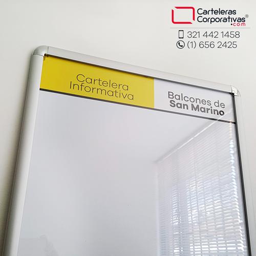 cartelera marco abatible para 4 hojas carta personalizada vista inferior balcones de san marino
