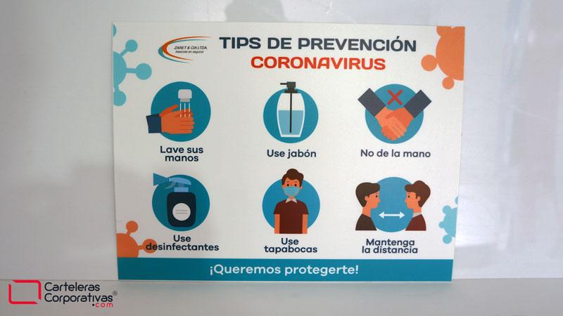 Aviso con tips de prevención de coronavirus