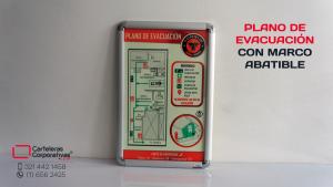 Plano de evacuación de 48x32 cms en marco abatible