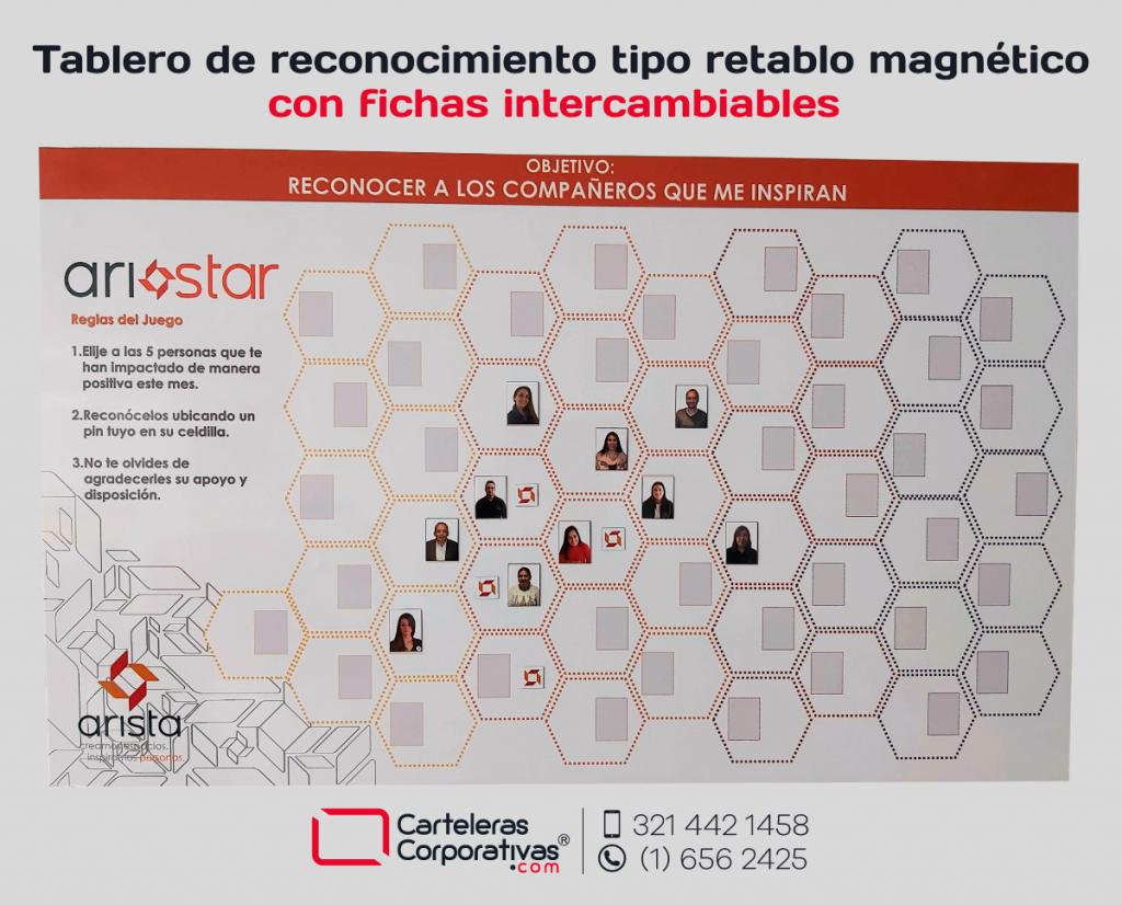 Tablero magnético con fichas intercambiables en Bogotá