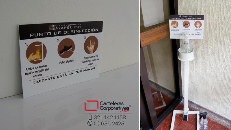 aviso personalizado en poliestireno para dispensador de gel en conjunto residencial