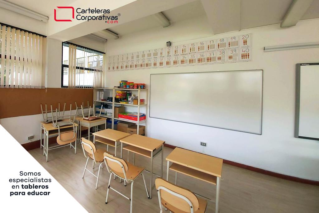 tablero en lámina porcelanizada ubicado en aula de clase de colegio en Bogota