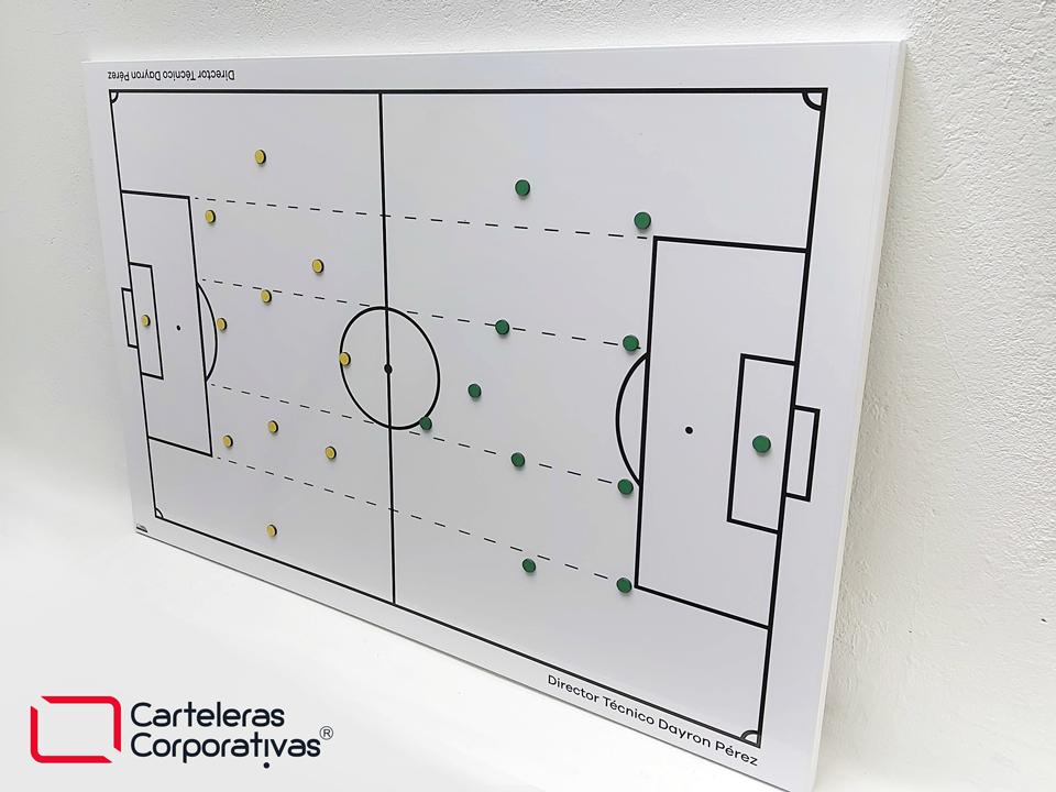 vista general de tablero táctico magnético de fútbol para el club atletico huila