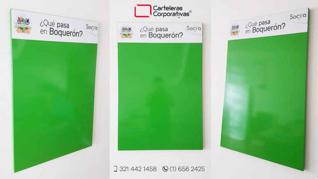 Cartelera tipo retablo magnética con pintura electrostática verde primavera tamaño 60x90 cms diferentes vistas