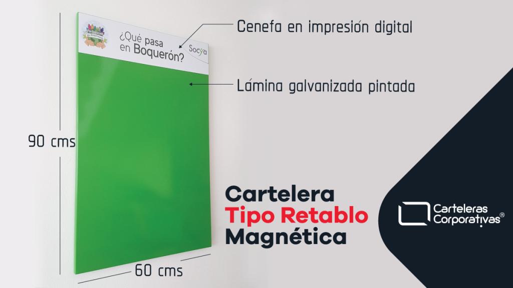 medidas y descripción de cartelera tipo retablo de 60x90 cms color verde