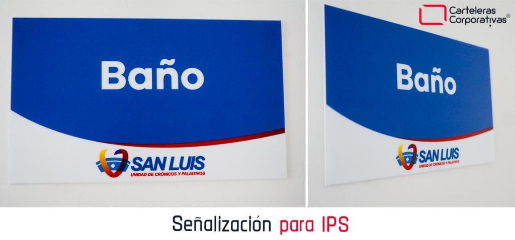 Señalización para ips en poliestireno tamaño 20x12 cms baño diferentes vistas